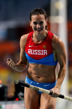 All-Russia Athletic Federation President Valentin Balakhnichev has called for compatriot Yelena Isinbayeva to continue her glittering athlet. Pec Workouts, Lydia Lozano, Darya Klishina, Female Athletes, Women Athletes, Pole Vault, Long Jump, Pose, Love Fitness