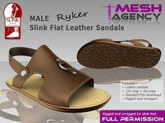 "Second Life Marketplace - Slink MALE flat sandals ""Ryker"" - FULL PERM"