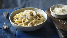 easy carbonara - literally takes no time at all, we tried swapping parmesan for cheddar which was a lot cheaper. Would recommend grating the cheese very finely or else it can be lumpy!