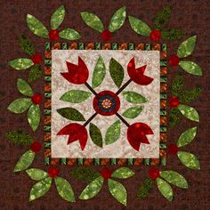Fuse large flower and leaf shapes to create a wall quilt.