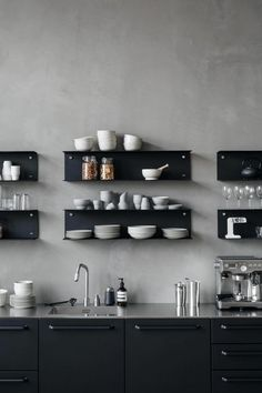 Modern Kitchen Interior Black modular kitchen from Vipp with matching shelves on conrete walls Amazing Kitchen Remodeling Why You Should Also Change Your Décor Ideas. Astonishing Kitchen Remodeling Why You Should Also Change Your Décor Ideas. Black Kitchen Cabinets, Black Kitchens, Kitchen Shelves, Home Kitchens, Kitchen Walls, Kitchen Black, Contemporary Interior Design, Home Interior, Interior Design Kitchen