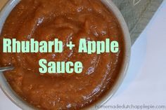 Rhubarb + Apple Sauce is fresh applesauce with a fun spring rhubarb twist. Rhubarb Desserts, Rhubarb Recipes, Apple Desserts, Jam Recipes, Canning Recipes, Snack Recipes, Recipies, Apple Sauce, Apple Pie