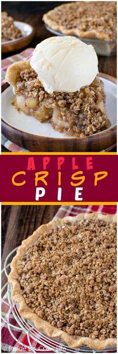 Apple Crisp Pie - homemade apple pie filling and a crunchy streusel ...