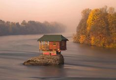 Amazing, isn't it??    #MakaanTrivia: This wonderful photograph was taken by Irene Becker and shows a tiny house in the middle of the Drina River near the town of Bajina Basta, Serbia.    Click Like and Share this...
