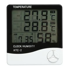 Digital LCD Thermometer Hygrometer Electronic Temperature Humidity Meter Weather Station Indoor Outdoor Tester Alarm Clock  PTSP
