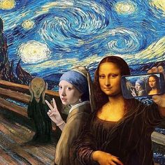 We just LOVE this famous painting selfie! Editor unknown but including the greats: The Scream by Edvard Munch Starry Night by Vincent van Gogh Girl With a Pearl Earring by Johannes Vermeer and Mona Lisa by Leonardo da Vinci.  Want a feature to our millions of followers across our blog and social media accounts? Here's how to do it:  1. List 3 or 4 works of your art for sale on www.artFido.com and include the tag #artFidoNAAS in the artwork description  2. Share your artFido listings with…