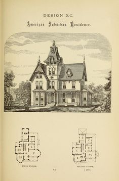 Hobbs's architecture: containing designs and ground plans for villas, cottages and other edifices, both suburban and rural, adapted to the United States. With rules for criticism, and introduction Victorian House Plans, Vintage House Plans, Antique House, Gothic House, Victorian Homes, Sims House Plans, House Floor Plans, Victorian Architecture, Architecture Plan