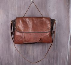 Handcrafted Patchwork Upcycle Brown Leather Portfolio Bag by ShyzukaLeatherBags on Etsy