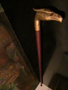 Mid Century Brass Eagle Head Walking Stick Wood Cane – Designer Unique Finds