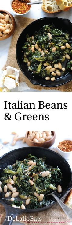 A classic Italian dish—greens and beans. We use our meaty, tender Cannellini beans with savory escarole and sauté them together with bold garlic and red pepper flakes. Some like to add slices of sweet Italian sausage to the mix… we say go for it! Bean Recipes, Side Dish Recipes, Vegetable Recipes, Vegetarian Recipes, Healthy Recipes, Dishes Recipes, Side Dishes, Escarole Recipes, Italian Beans