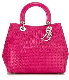 Dior Lady Dior Soft Woven Medium Tote, Pink