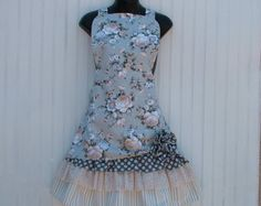 Ladies Floral Apron in Retro Style with Polka-Dot by KozyKitchens