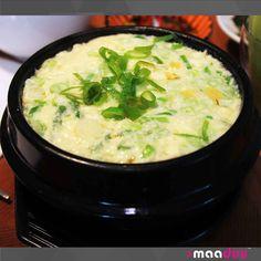 Korean steamed eggs   Steamed egg in an earthenware bowl Ttukbaegi gyeranjjim 뚝배기 계란찜