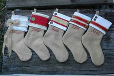 I adore these beautiful burlap Christmas stockings!!