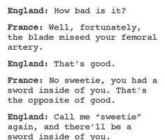Hetalia England and France, talking about injuries