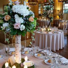 We love how this look was so elegant, yet still very organic.  #wedding #reception #ballroom #instawedding #centerpiece #atoeevents #njweddingflorist #njflorist #organic #green #birch
