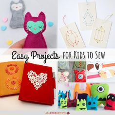 Bored at home? This list includes some of the coolest and fun easy sewing projects for kids. Check out Easy Projects for Kids to Sew! Sewing Projects For Kids, Sewing For Kids, Easy Sewing Projects, Craft Projects, Sewing Tutorials, Sewing Crafts, Craft Ideas, Fun Crafts, Crafts For Kids