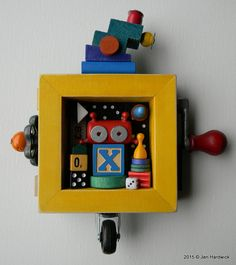 Kids Room Decor - X Bot - Recycled Assemblage - Found Object Art - Mixed Media Assemblage by Jen Hardwick