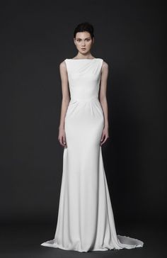 Delicately pleated Off-White Moroccan Crepe evening dress with bateau neckline.
