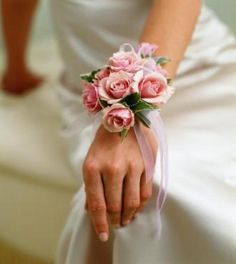 Wrist corsage ~ add ribbon to cover elastic band