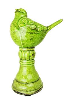 Green Terra Cotta bird statue with crackle detail inviting enough to sit on your shelf. Add some shabby chic flavor to your home with this exciting detail. $20