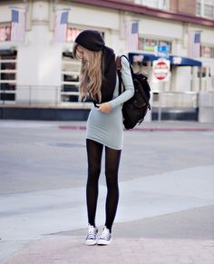 I never liked converse but this outfit might convince me! N the backpack how adorable