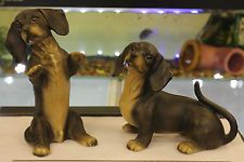 Dachshund Pottery Figure Pair