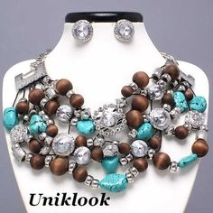 Cowgirl Western Chunky Silver Crystal Wood Bib Fashion Necklace Earrings Jewelry