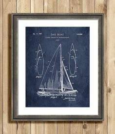 1920s Sail Boat patent print sail boat blueprint by ScarletBlvd