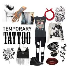 """""""Today's Tattoos"""" by choice-to-be ❤ liked on Polyvore featuring beauty, New Look, Bandana, Forever 21, WithChic, Band of Outsiders, Converse, Smashbox and temporarytattoo"""