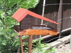 Mid Century Modern 1950's Diner, Big Roof Bird Feeder, Made from Reclaimed Redwood. by MidCenturyWoodShop on Etsy