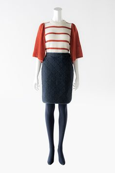 BORDERS at BALCONY SWEATER B-10 and #DENIM SKIRT B-4 #2013AW #bordersatbalcony #border #knit #skirt Knit Skirt, Balcony, High Waisted Skirt, Denim, Knitting, Skirts, Sweaters, Collection, Fashion
