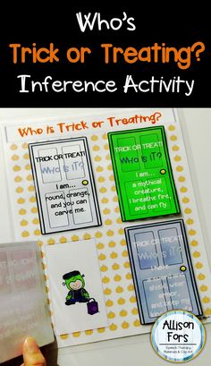 Target inferencing and critical thinking skills with this fun, motivating inference activity!  Read the clues and guess who is trick or treating behind the closed door - and then turn the flap to see!