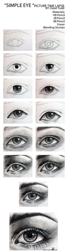 Step by step of an eye