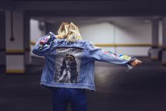 M.I.A vintage denim jacket with original indian textiles at the sleeves, hand painted quotes by @ceuhandmade