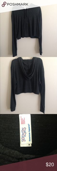 American Apparel Cropped Sweatshirt Lightweight hoodie from AA. Tri-blend material. Pair with shorts or high waist jeans. Never worn.  No Trades Reasonable offers are welcome American Apparel Sweaters