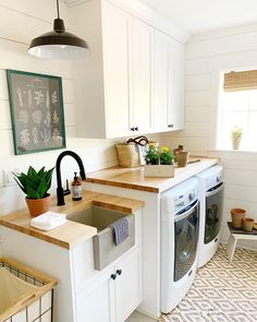 Our 1890 farmhouse had a laundry room that needed some love! SW Alabaster shiplap, butcher block counters, and black accents bring everything into focus.🌿