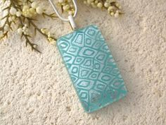 Aqua Silver Necklace  Fused Glass Jewelry  Dichroic by ccvalenzo, $24.00
