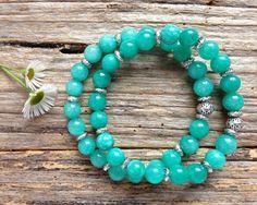 Brazilian Aquamarine Gemstone & Tibetan Bead Bracelet Set, Unique Gift, Birthday, Christmas by TJBsimplebeauty on Etsy