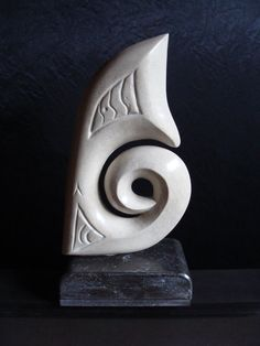 """Pacific dream"" - Handmade ocean inspired abstract sculpture. Travertin stone on Belgian blue stone base."