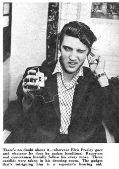 """Published in """"Complete TV"""", February 1957. The photo was taken in Elvis's dressing room at the Hudson Theater in New York City prior to the Steve Allen show on July 1st, 1956."""