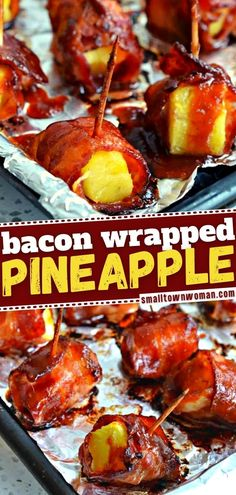 You might want to double the batch of this New Year's Eve food for your party! This easy recipe for Bacon Wrapped Pineapple is the best. Be prepared — these appetizers will disappear before you can even blink your eyes! Make the sauce ahead if you are in a hurry! Camping Appetizers, Bacon Appetizers, Easy Appetizer Recipes, Wrap Recipes, Bacon Recipes, Cooking Recipes, Delicious Appetizers, Yummy Food, Healthy Appetizers