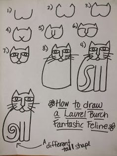 Rainbow Skies & Dragonflies: Laurel Burch inspired Cats - this handout was a big help to my 2nd graders learning to draw cats in the Burch style. #art