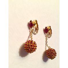 disco ball earrings- clip-on earrings ($16) ❤ liked on Polyvore featuring jewelry, earrings, rhinestone clip on earrings, clip on dangle earrings, antique earrings, vintage earrings and red clip earrings