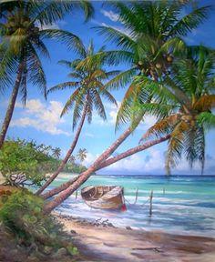 Antonio Herrera Toro. Pintor venezolano. Seascape Paintings, Landscape Paintings, Landscapes, Nature Pictures, Cool Pictures, Tropical Art, Surf Art, Beach Scenes, Beach Art