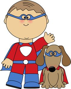 Boy superhero and his dog.