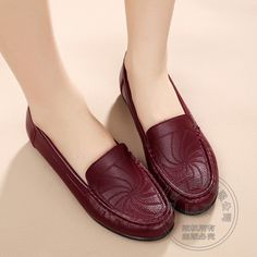 38.92$  Know more - http://aicku.worlditems.win/all/product.php?id=32767980348 - Solid Plain Women Flat Shoes Slip On Women PU Commuter Loafers Women Soft Flexible Mother Comfortable Elderly Needlework