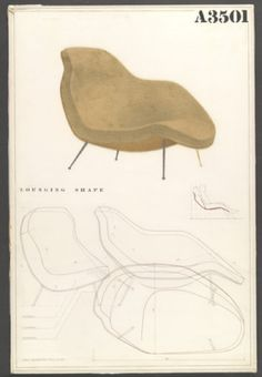 Conception drawing for an Eames Lounge chair. 1940