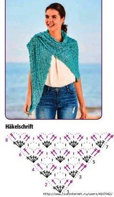 Leuke omslagdoek haken via deze diagram. – Best Knitting Pattern – The Best Ideas Poncho Knitting Patterns, Knitting Blogs, Shawl Patterns, Crochet Patterns, Crochet Shawl Diagram, Crochet Chart, Crochet Stitches, Knit Crochet, Crochet Shawls And Wraps