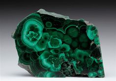 A cut and polished slice of classic Russian Malachite from Ekaterinburg displaying excellent green colour zonation.